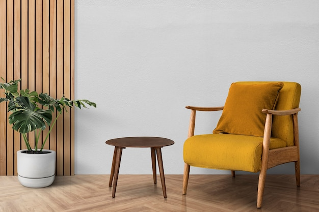 Mid-century modern living room interior design with monstera tree