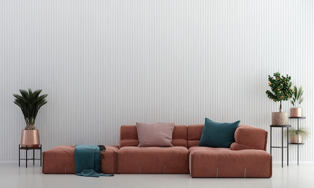 Mid century modern living room and white wall texture background interior design