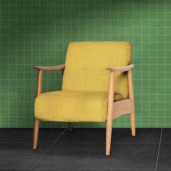 Mid-century yellow armchair living room furniture