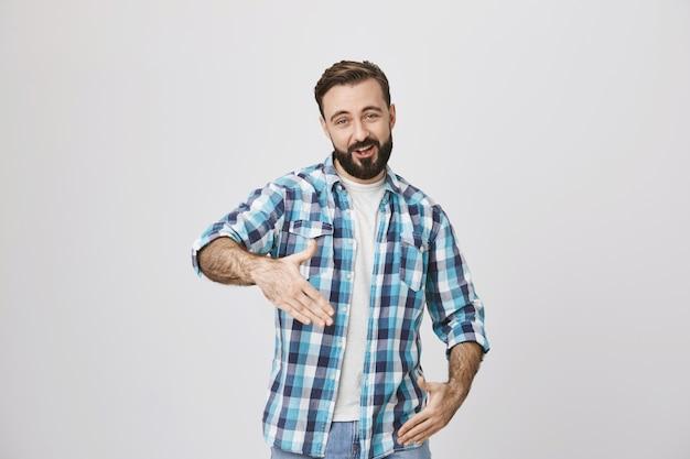 Mid-life crisis. adult man dancing hip-hop and smiling