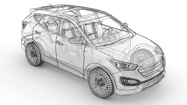 Среднеразмерный городской кроссовер. на иллюстрации на белом фоне автомобиль обведен линиями и имеет полупрозрачный кузов. 3d-рендеринг.