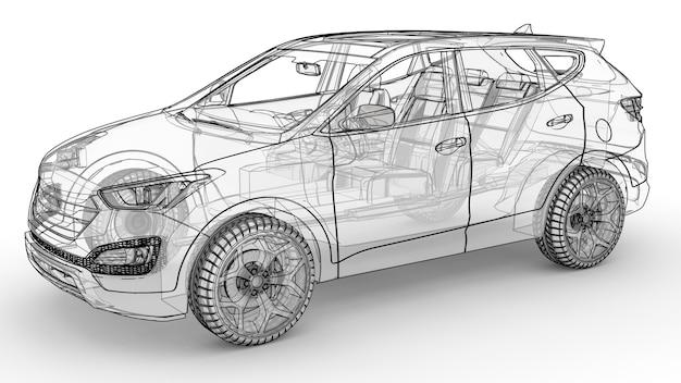 중형 도시 크로스 오버. 흰색 배경의 그림, 자동차는 선으로 윤곽이 그려져 있고 몸체는 반투명합니다. 3d 렌더링.
