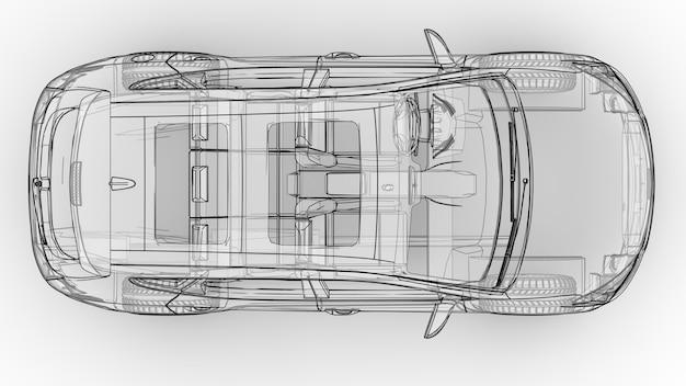 중형 도시 크로스오버. 흰색 배경에 있는 삽화로 자동차는 선으로 윤곽이 그려져 있고 반투명한 몸체가 있습니다. 3d 렌더링.