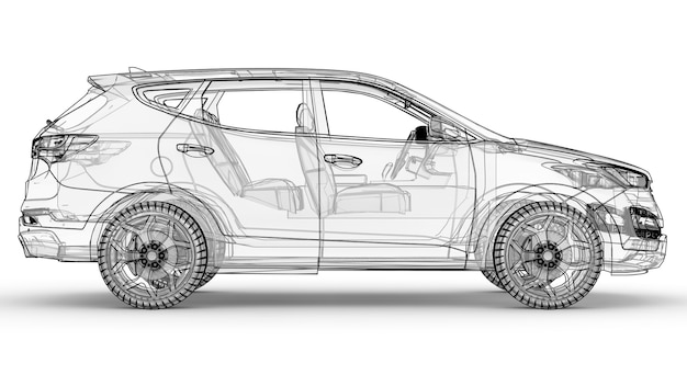 Mid-size city crossover. an illustration on a white background, the car is outlined by lines and has a translucent body. 3d rendering.