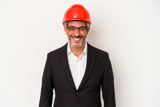 Middle age architect caucasian man isolated on white background  happy, smiling and cheerful.