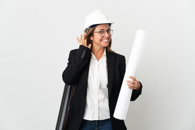 헬멧을 가진 중년 건축가 여자와 귀에 손을 넣어 뭔가를 듣고 고립 된 벽에 청사진을 들고
