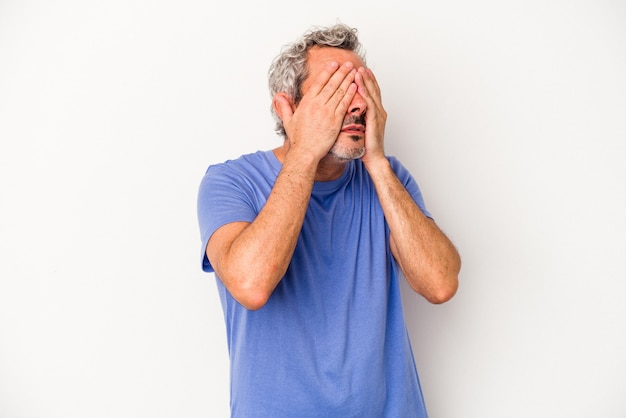 Middle age caucasian man isolated on white background  afraid covering eyes with hands.