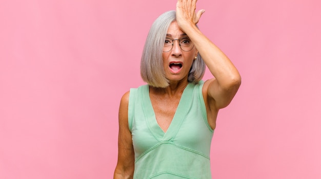 Middle age pretty woman feeling stressed, unhappy and frustrated