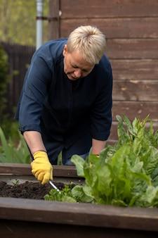 Садовница средних лет рыхлит почву на клумбе среди цветов для посадки растений в своем саду