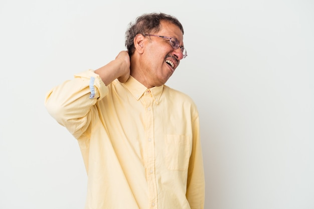 Middle aged indian man isolated on white background suffering neck pain due to sedentary lifestyle.