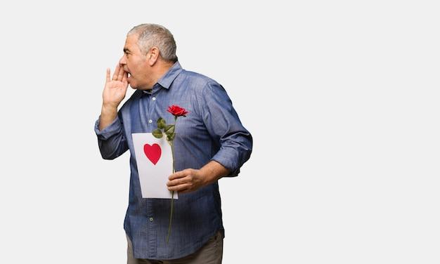 Middle aged man celebrating valentines day whispering gossip undertone