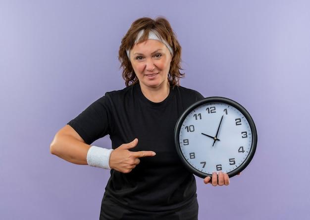 Спортивная женщина средних лет в черной футболке с повязкой на голове держит настенные часы, указывая пальцем на них, уверенно улыбаясь, стоя над синей стеной
