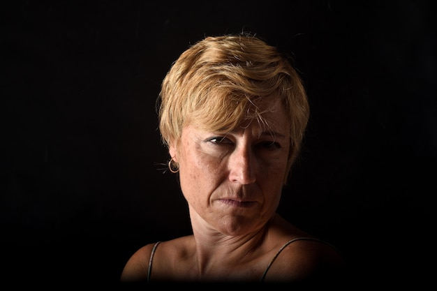 Middle-aged woman angry
