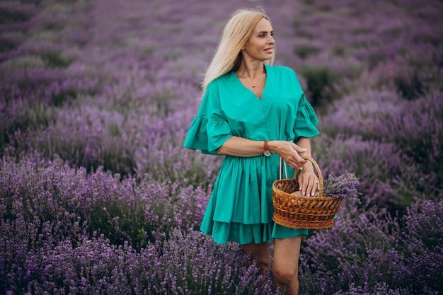 Middle aged woman in a lavander field