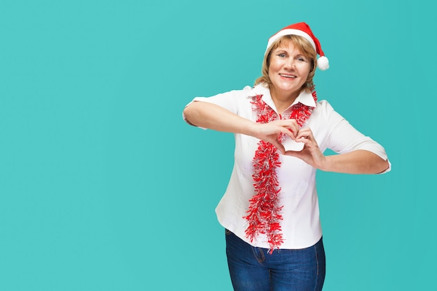 Middle-aged woman in new year and christmas clothes