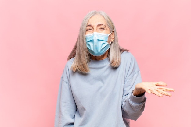 Middle aged woman with medical mask