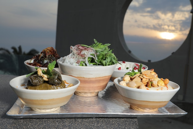 Middle eastern or arabic dishes and assorted meze