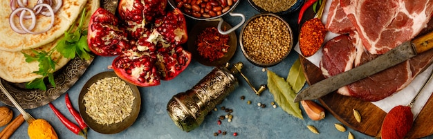Middle eastern or arabic tradition ingredients, flat lay