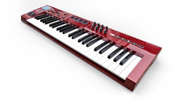 白地に赤のシンセサイザーmidiキーボード。シンセキーのクローズアップ。 3dレンダリング。