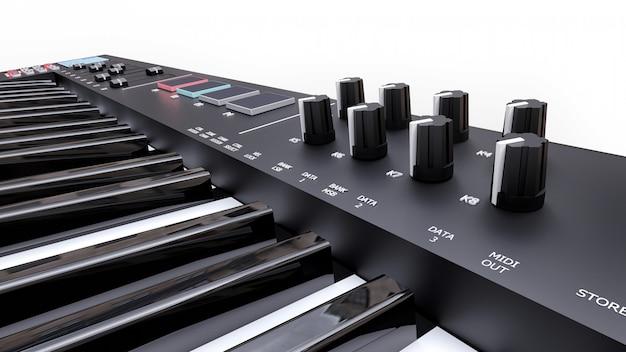 白いシンセキーに黒いシンセサイザーmidiキーボードをクローズアップ