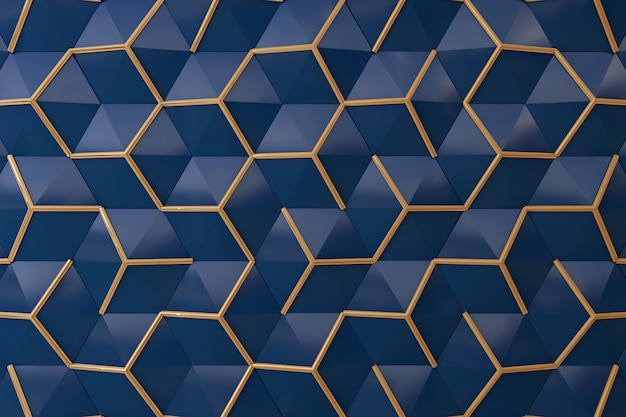 Midnight blue and gold  3d wall for background