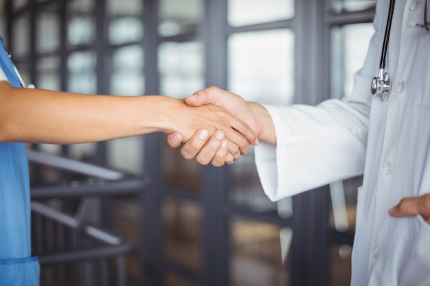 Midsection of doctors handshaking