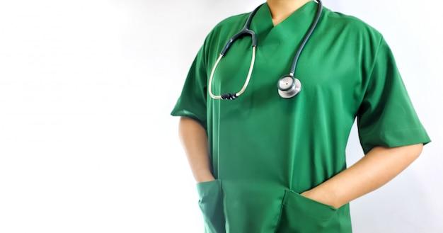 手術室の緑のスーツの女性医師の中央部