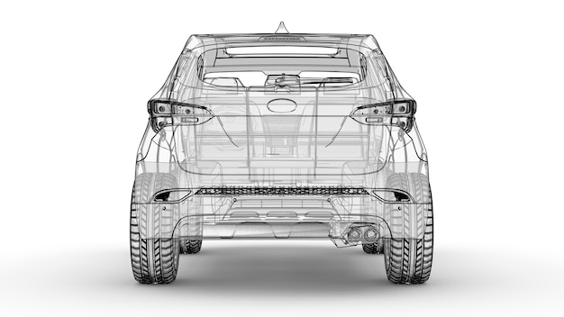 중형 도시 크로스 오버 흰색 배경에 그림 자동차는 선으로 설명되어 있습니다