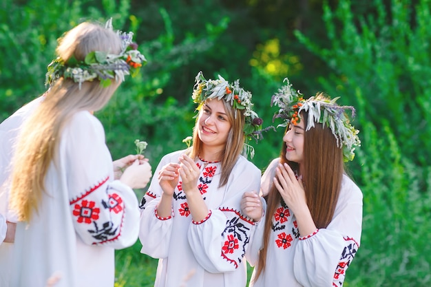 В середине лета. группа молодых людей славянской внешности на праздновании середины лета.