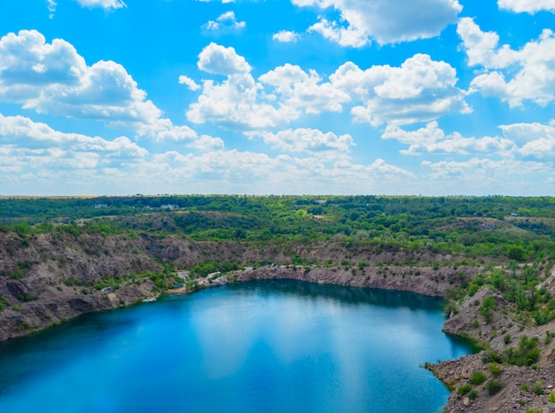 Migia radon radioactive lake. abandoned granite quarry in mykolaiv region, ukraine.