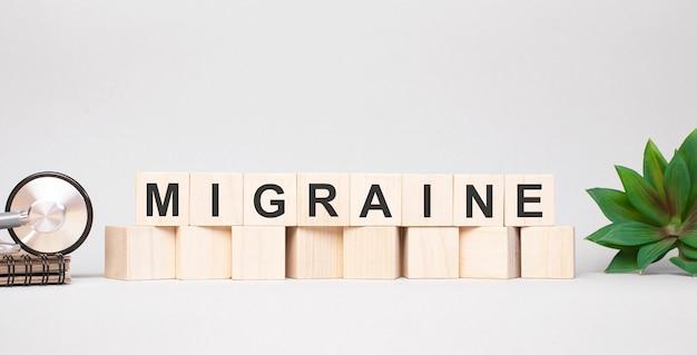 나무 블록 개념으로 만든 migraine 단어