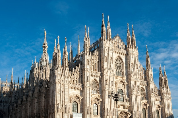 Milan cathedral under blue sky
