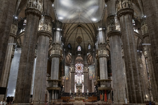 Milan, italy - june 27, 2018: panoramic view of interior of milan cathedral (duomo di milano) is cathedral church of milan. dedicated to st mary of the nativity, it is seat of the archbishop of milan