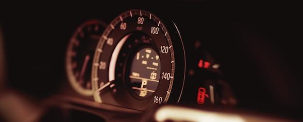 Miles speedometer of modern car close up modern car speedometer