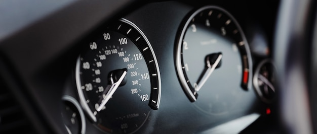 Miles speedometer of modern car close up
