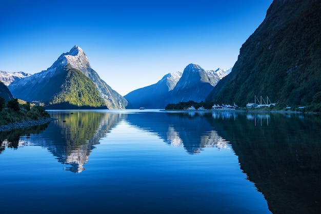 Milford sound, fiordland national park, south island, new zealand with a reflection of mit