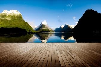 Milford Sound New Zealand Travel Destination Concept