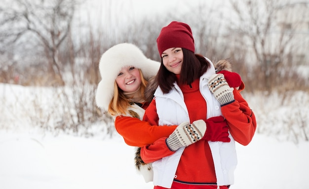 Miling girls in winter