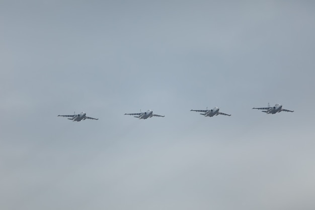 Military aircraft fighters of the new generation in the sky.