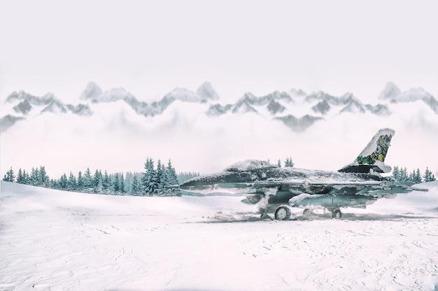 Military aircraft with heavy snowfall