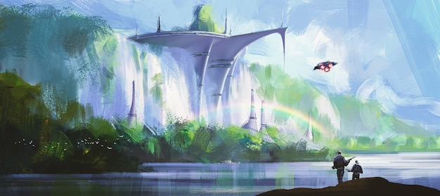 Military base by the waterfall illustration.