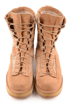Military boots isolated on white