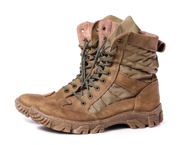 Military boots on white