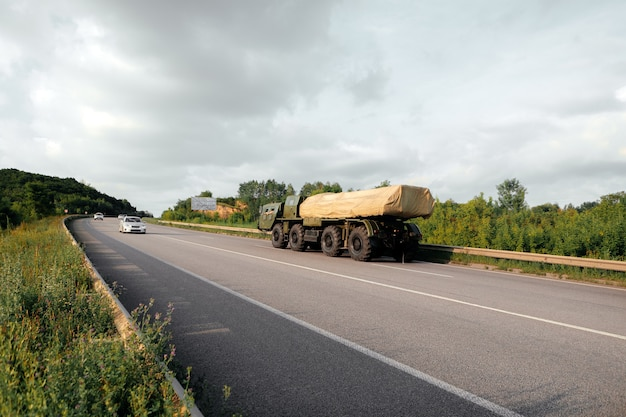 Military equipment moves along the road