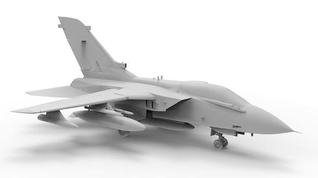 Военный истребитель. трехмерная растровая иллюстрация в виде полностью белой модели. 3d-рендеринг.