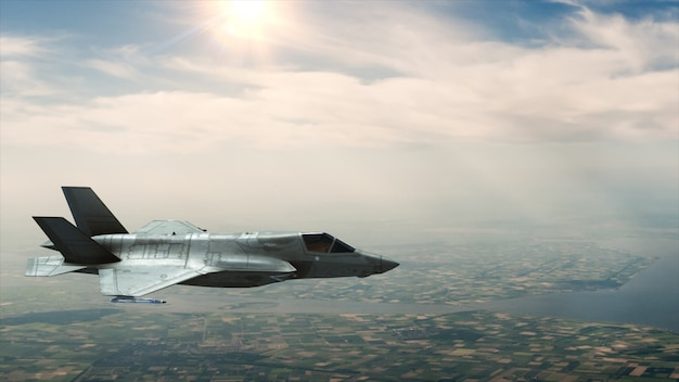 A military fighter flies in the sky