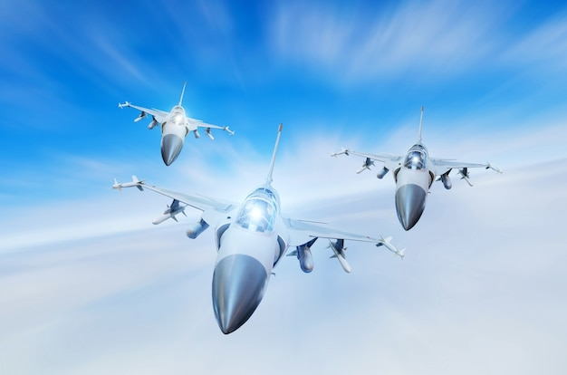 Military fighters jet three group aircraft at high speed, flying high in the sky.