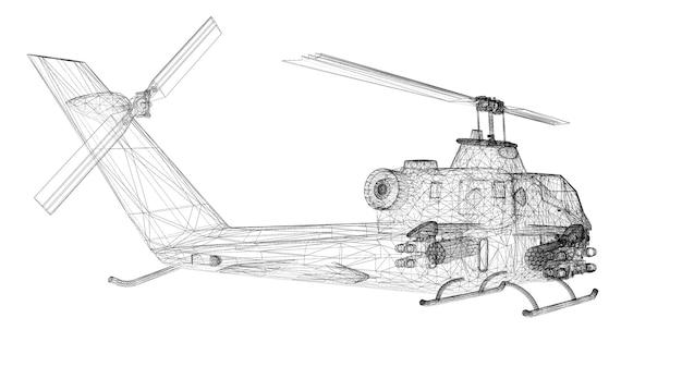 軍用ヘリコプターの3dモデルのボディ構造、ワイヤーモデル