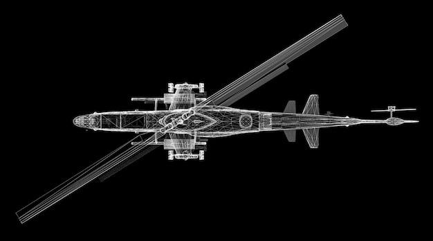 군용 헬리콥터 3d 모델 신체 구조, 와이어 모델