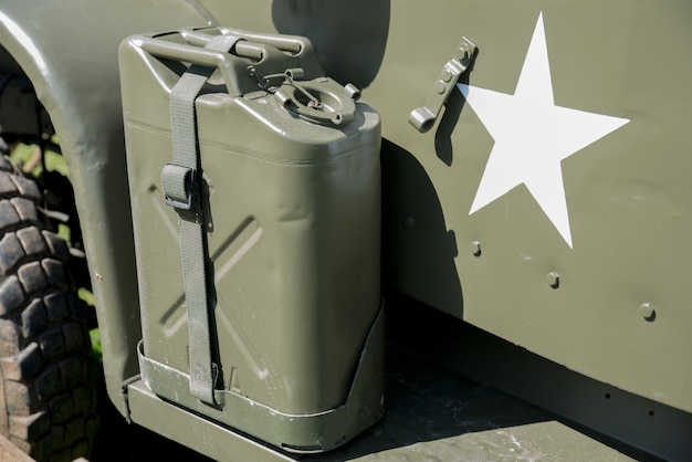 Military jerrycan on truck
